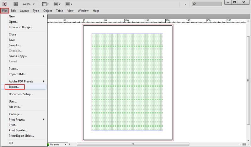 indesign kann nicht in pdf exportiert werden